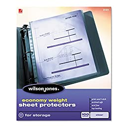 Wilson Jones® WLJ21422 ECONOMY WEIGHT SHEET PROTECTOR, NON-GLARE FINISH, CLEAR, 50/BOX **1 BX **