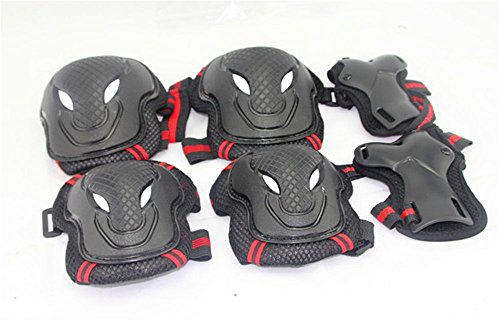 Oliasports® Children Cycling Roller Skating Knee Elbow Wrist Protective Pads--Black / Adjustable Size, Suitable for Skateboard, Biking, Mini Bike Riding and Other Extreme Sports (Red)