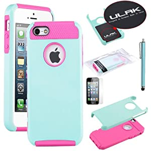 Pandamimi ULAK Aqua Blue & Rose Pink Fashion Sweety Girls TPU + PC 2-Piece Style Soft Hard Case Cover for iPhone 5 5G with Free Screen Protector and Stylus