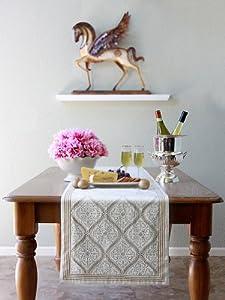 Vanilla Glace ~ White Gold Romantic Elegant Luxury Table Runner 18x108