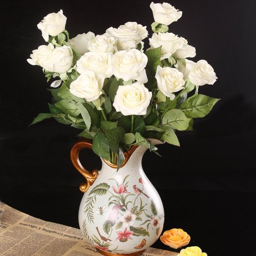 wholesale artificial silk latex rose flowers wedding bouquet bridal decoration bundles real. Black Bedroom Furniture Sets. Home Design Ideas