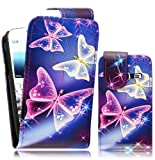 Magic Global Gadgets - New Blue Butterfly Magnetic Flip PU Leather Case Cover Pouch For Samsung Ch@t 357 S3570 With Screen Guard