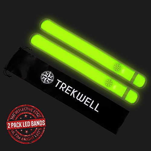 Trekwell 2 LED Slap Bands, Glow Bracelet, High Visibility Running Armband Includes Batteries, Glow In The Dark (Armband Light For Running compare prices)