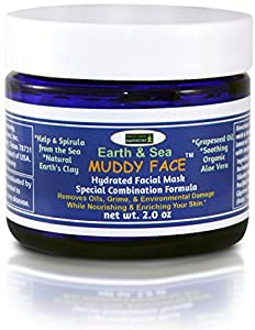 MUDDY FACE (Earth & Sea) Pre-Mixed (Hydrated) Premium Spa Like Facial Clay Mask, Organic Aloe Vera, Grapeseed Oil, Vit. C, Kelp & Spirulina Seaweed, Trace Minerals, Kaolin & Bentonite Clay, 2.5 oz Jar