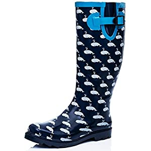 Flat Festival Wellies Wellington Rain Boots Blue Synthetic