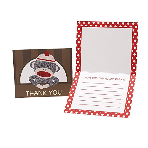 Sock Monkey Red Thank-You Notes (8)