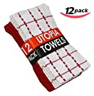 Utopia Towels Kitchen Dish Towels, Super Absorbent Terry Fabric, 100% Ringspun Soft Cotton, 6 Solid Print and 6 Dobby Style - Red and White (15  x 25 )