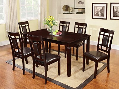 The Room Style 7 Pc Dark Cherry Finish Solid Wood Dining Table Set, Table and 6 Chairs