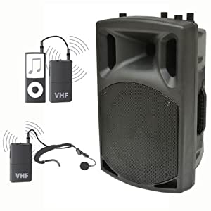 200w Portable PA System with Wireless Head Microphone & Wireless Ipod Controller