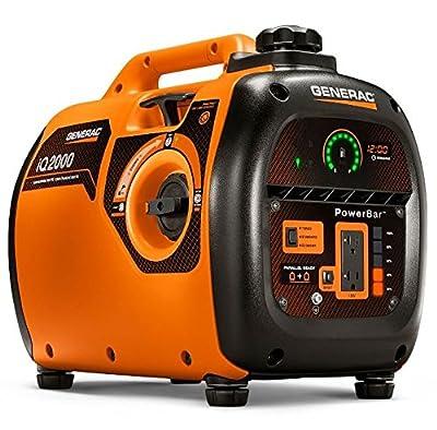 Generac 6866 iQ2000, 1600 Running Watts/2000 Starting Watts, Gas Powered Quiet Portable Inverter Generator, CARB Compliant