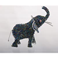 African Elephant Bead and Wire Sculpture