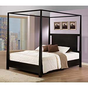 Napa Queen Size Black Canopy Bed Bedroom Furniture Decor