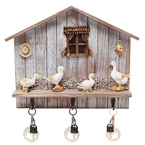 Rustic Country Decorative Barnyard Design Wall Mounted Wooden Organizer Hanger / Coat Hook Rack - MyGift�