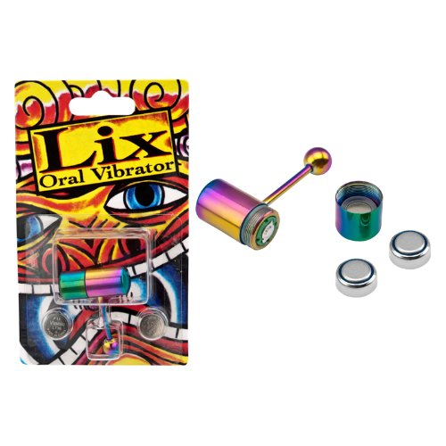 Lix Vibrating 316L Surgical Steel Tongue Ring - Rainbow Anodized - Improved Motor 2pcs tongue