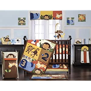 Kids Line Jungle 1-2-3 Six Piece Crib Bedding Set