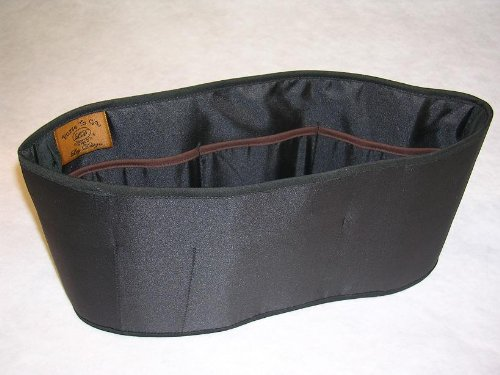 "Purse To Go® purse organizer insert transfer liner-ENCLOSED BOTTOM- BUCKET TYPE- Large size (12""L x 6""H x 3.5""W) (Black)"