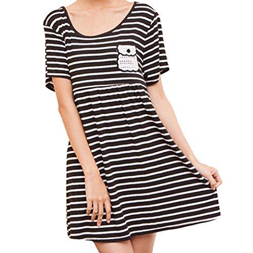 Maternity Nursing Women Short Sleeve Striped Round Collar Dress Size L - Black