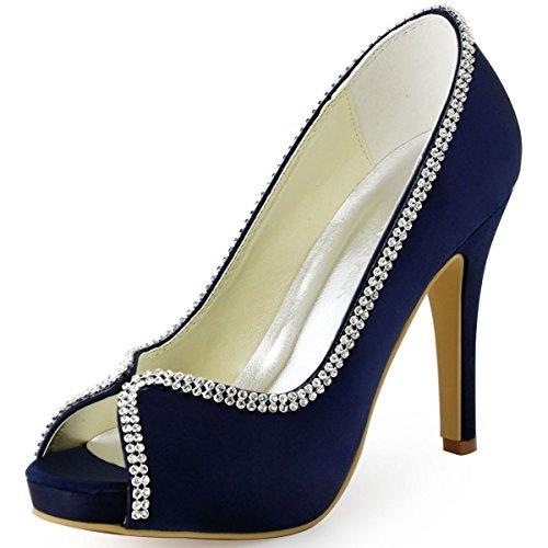 06. ElegantPark EP11083-IP Women's Peep Toe Stiletto High Heel Rhinestones Satin Evening Pumps Wedding Bridal Shoes