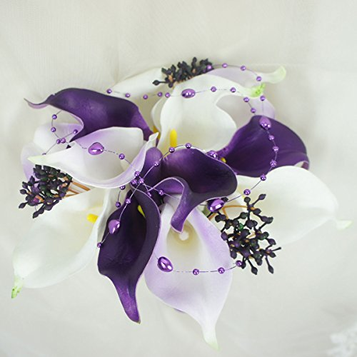 Lily Garden Real Touch Calla Lily Purple and White Flowers Wedding Bouquet (12 Stems Bouquet)