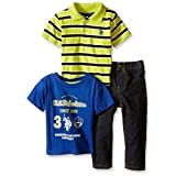 U.S. Polo Assn Boys' Striped Shirt, Graphic T-Shirt and Denim Jean Set, Apple Martini, 18 Months