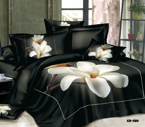 Queen King Size 100% Cotton 7-Pieces 3D Big White Yulan Black Flower Floral Prints Fitted Sheet Set With Rubber Around Duvet Cover Set/Bed Linens/Bed Sheet Sets/Bedclothes/Bedding Sets/Bed Sets/Bed Covers/ Comforters Sets Bed In A Bag (King) front-931367