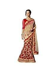 Red And Cream Georgette+Net Designer Saree