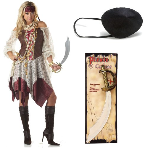 South Seas Siren Adult Pirate Costume, Large, with Pirate Cutlass