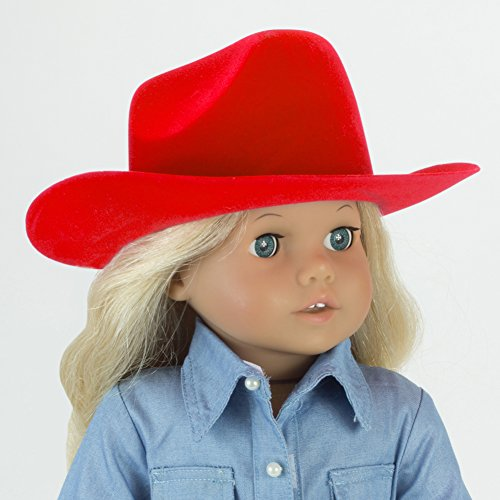 Red Cowgirl Doll Hat for the 18 Inch Horse Riding American Girl & More! 18 Inch Red Velvet Cowgirl Doll Hat w/ Decorative Rope on Brim
