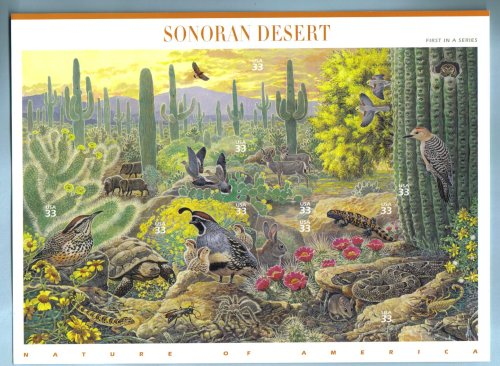 1999 Sonoran Desert (#3293) Souvenir Sheet of 10 x 33 cents US Postage Stamps