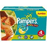 Pampers Baby-Dry Size 4 (15-44 lbs/7-18 kg) Nappies - 2 x Jumbo Packs of 82 (164 Nappies)by Pampers