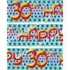 HAPPY 30TH BIRTHDAY HOLOGRAPHIC BANNER 9FT LONG