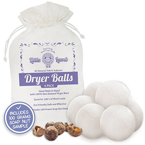 6 Pack Of Wool Dryer Balls With Free Soap Nuts - 100% Premium Organic Felt Wool Dryer Balls (Xl, Handmade, Eco-Friendly, Baby Safe Fabric Softener, Includes Gift Bag All - Natural Laundry Fabric Softener) With 100% Natural Cloth Diaper Laundry Detergent -
