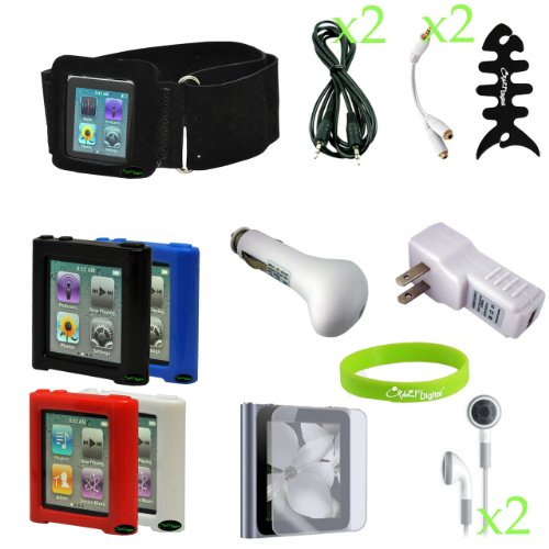 CrazyOnDigital Full Accessory Kit Charger Case for Apple iPod Nano 6G 6th Generation. CrazyOnDigital Wristband included