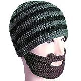 Free Fisher Unisex Knit Beanie Stubble Beard (Style2 Grey Stripe)