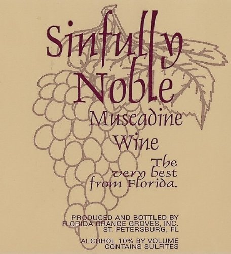 Nv Florida Orange Groves Sinfully Noble Sweet Muscadine Noble Red 750 Ml