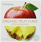Clearspring Organic Apple and Pineapple Fruit Puree 2x100 g (Pack of 12)
