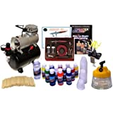 Paasche VL Airbrush Paint Set with Compressor with 12 Color US Art Supply Paint Set