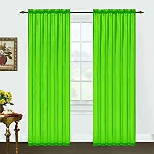 A Pair Of Lime Green Sheer Rod Pocket Curtain