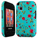 Cellmax Samsung GT-C3300K Champ Hard Shell Back Protection Matt Case Little Red Roses With Green Leafs Pattern Cover Skin Clip On Protection
