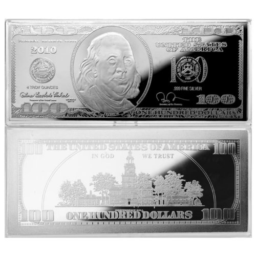 2010 $100 Silver Franklin Bar - 4 Troy oz .999 Fine Silver Bar - Uncirculated Silver Bullion