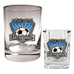 San Jose Earthquakes MLS Rocks Glass and Square Shot Glass Set - Primary Logo