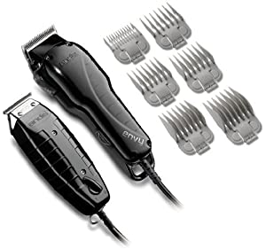 Andis Professional Stylist Clipper and Trimmer Combo Kit, High Speed Whisper Quiet Magnetic Motors with Ergonomic Design, Clipper has Adjustable Blade with 6 Comb Attachments Size 1/8-1, T-Blade Outliner Trimmer Features 4 Comb Attachments Size 1/16-3/8