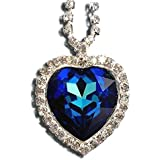 FBrand Titanic Heart of the Ocean Necklace Pendant Jewelry- Blue Swarovski Crystal