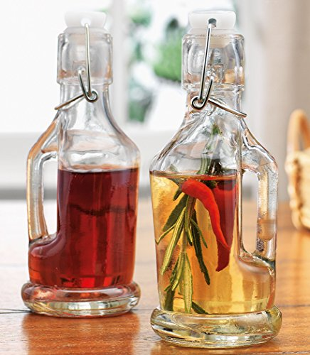 Home Essentials Bail & Trigger Lid Clear Glass 7 Oz. Oil & Vinegar Sauce Bottles Cruets With Airtight Seal (Glass Bottle Bail Lid compare prices)
