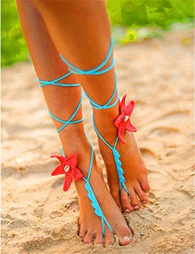 Generic women Barefoot Sandals Foot Jewelry Foot Thongs Bridal Bridesmaid Wedding Sandals Crochet Sandals