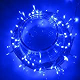 UKSOLAR 30m 300 LED Fairy Light Blue 24V 8W Low Voltage Safe Christmas Lights Perfect Xmas Indoor Decoration Ideal for childrens room, living room, bedroom, balcony, terrace, garden, gazebo, etc