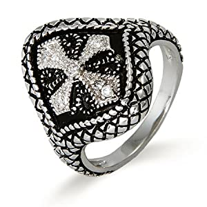 Oxidized Renaissance Style CZ Cross Ring Size 5 (Sizes 5 6 7 8 9 Available)