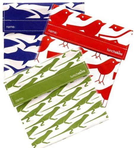 Lunchskins Reusable Bag 3pk - Shark, Lizard, Bird - 1