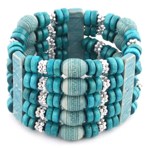 Ladies Blue 5 Row Spacers & Bars Style Wooden Beaded Stretch Bracelet