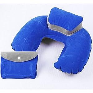 YOKIRIN® U-förmige aufblasbare Nackenhörnchen Reisekissen Schutz Cushion-Blau